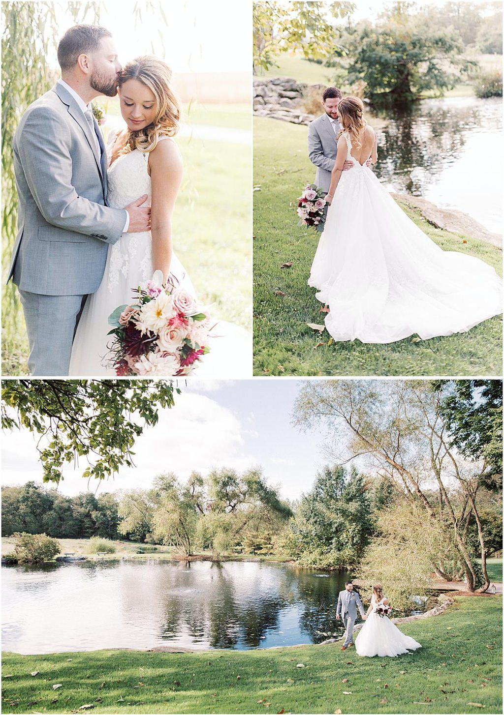 a bride and groom posing for wedding photos near the pond at the farm at eagles ridge