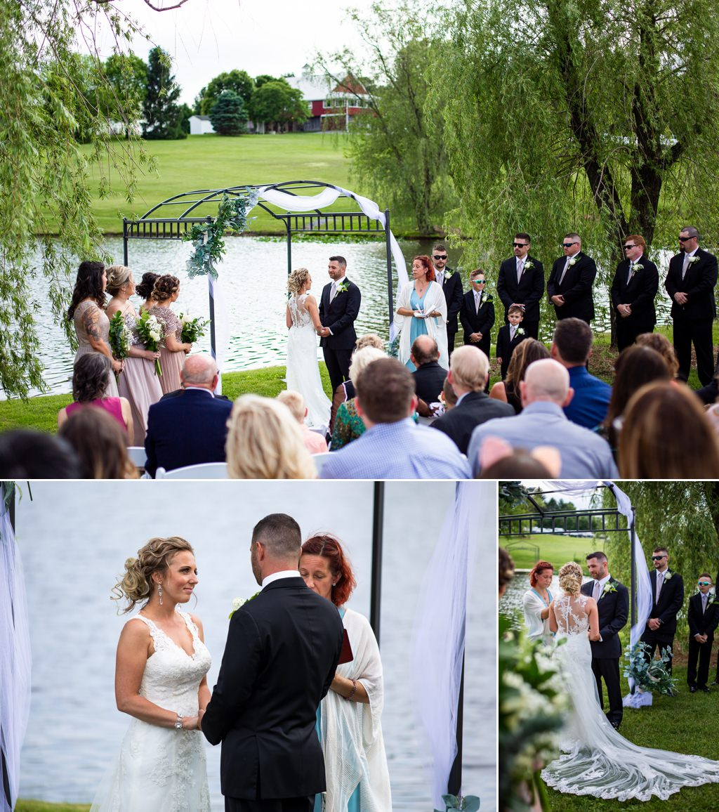 An outdoor wedding ceremony at Wind in the Willows in Central PA