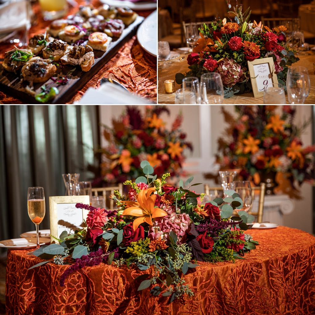 Fall color wedding reception decor at The Hotel Hershey