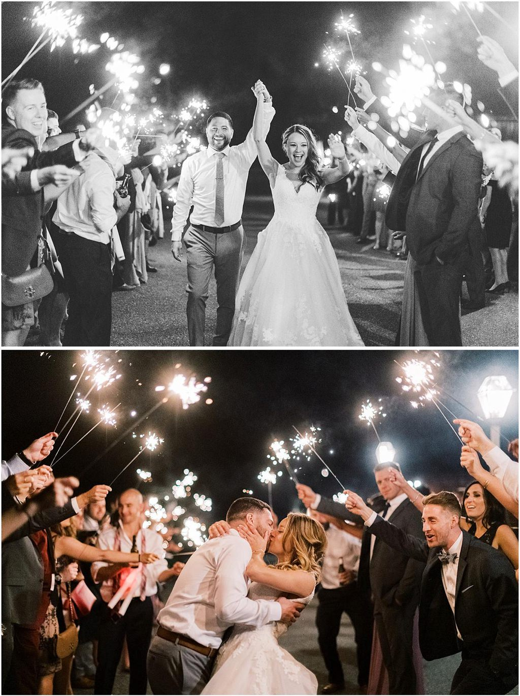 A bride and groom walking through a line of sparklers
