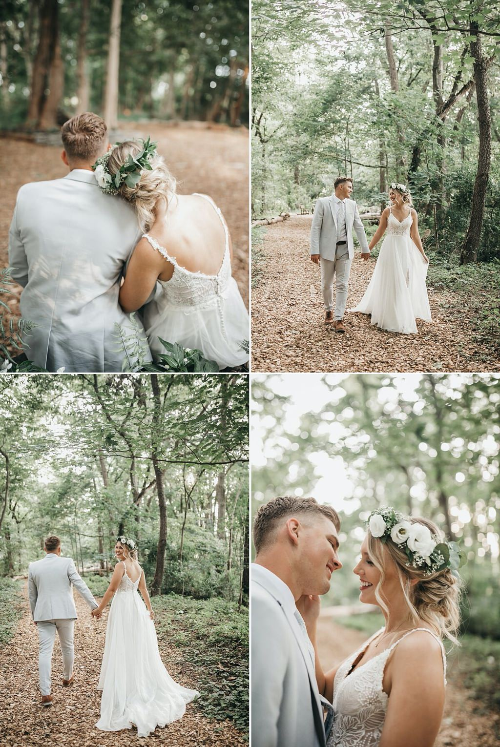 A bride and groom walking in the woods on their wedding day at Stone Mill Inn