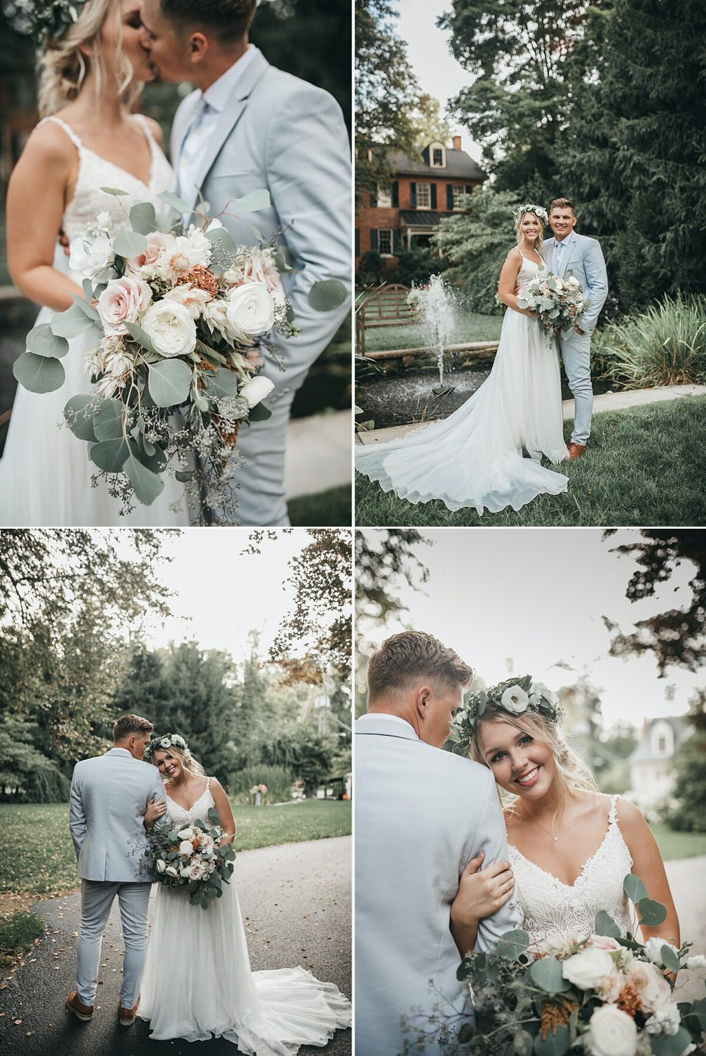 A bride with flower crown posing for photos on wedding day at Stone Mill Inn