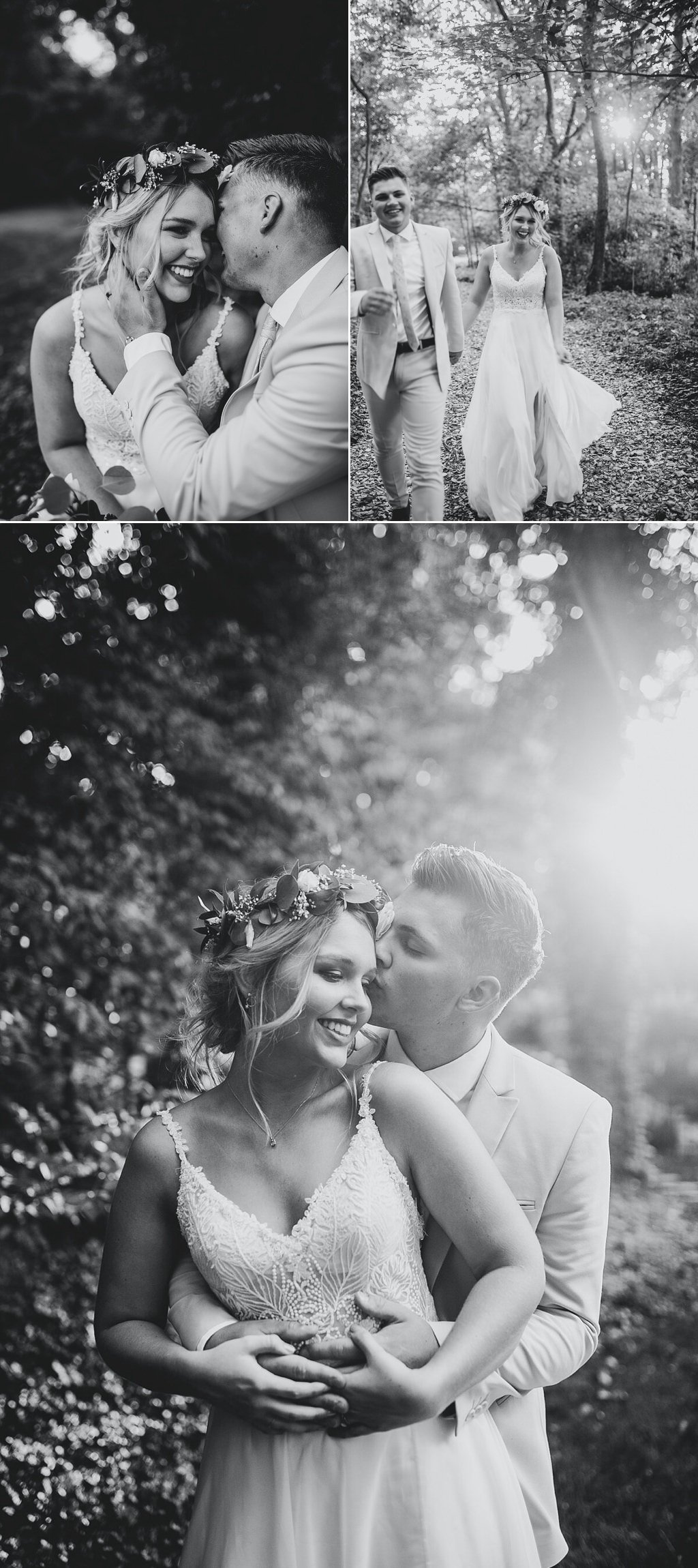 black and white photos of a couple posing on their wedding day
