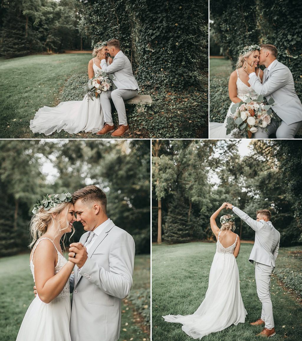 A bride and groom dancing in a field on their wedding day at Stone Mill Inn
