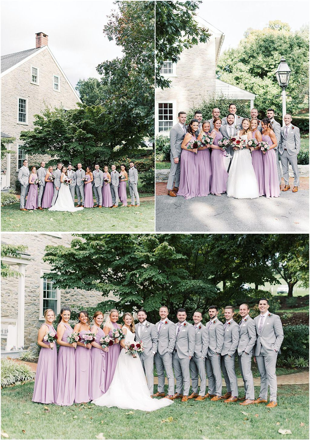 A wedding party posing for photos
