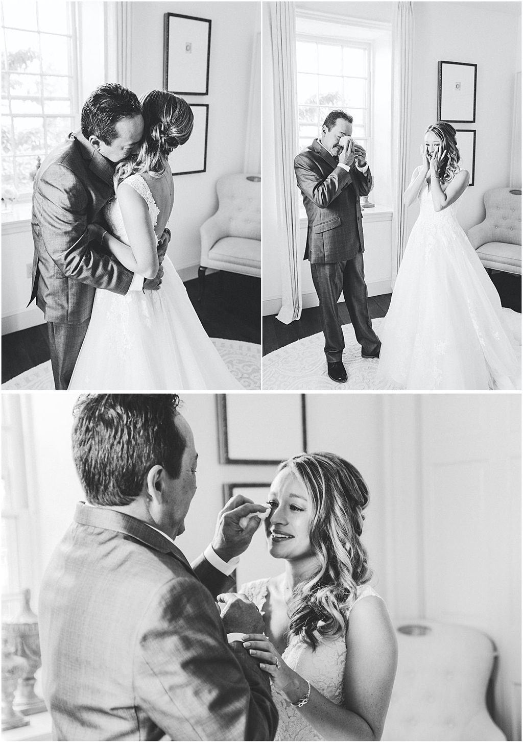 A bride doing a first look with her father