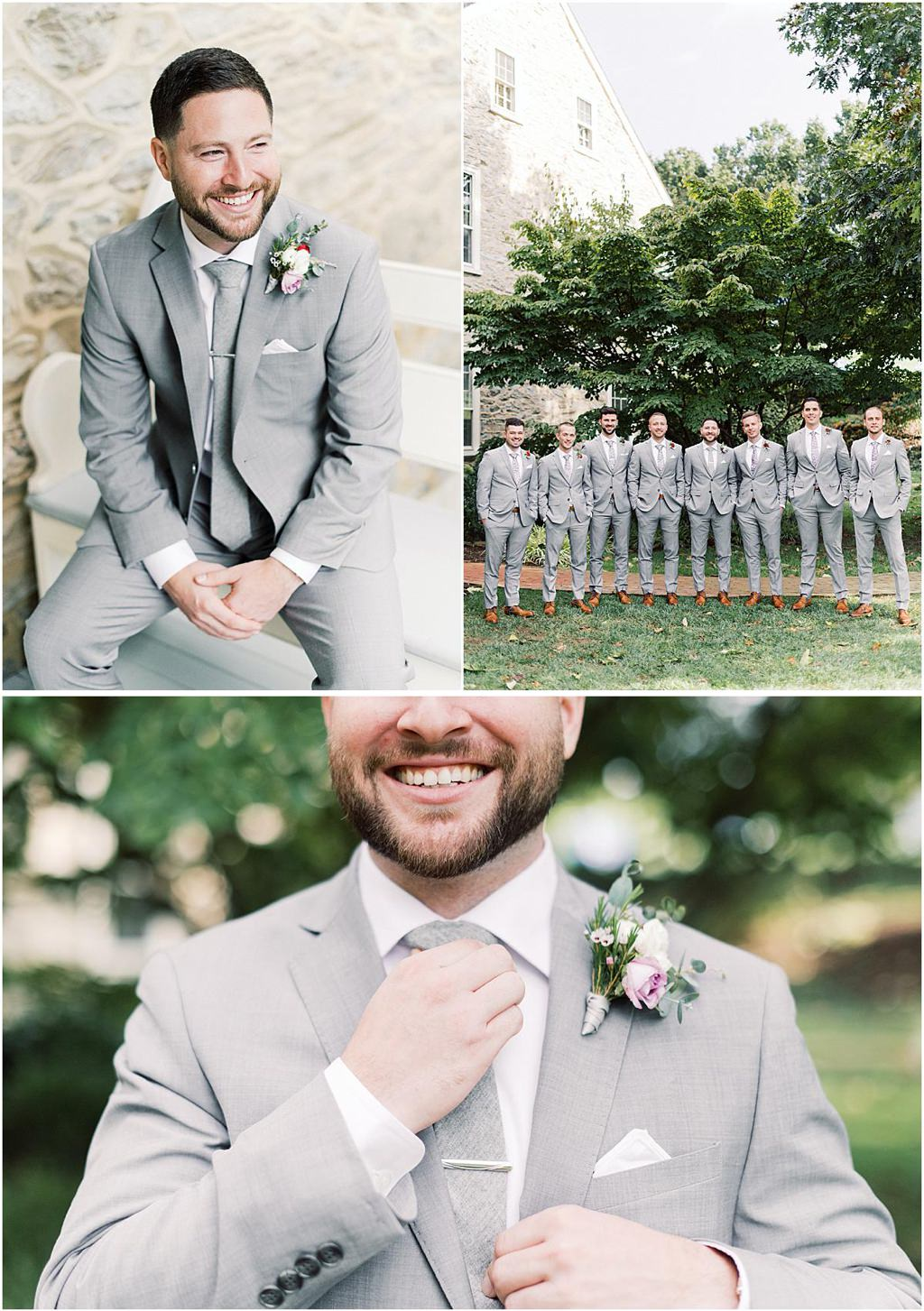 A groom and groomsmen posing for wedding photos