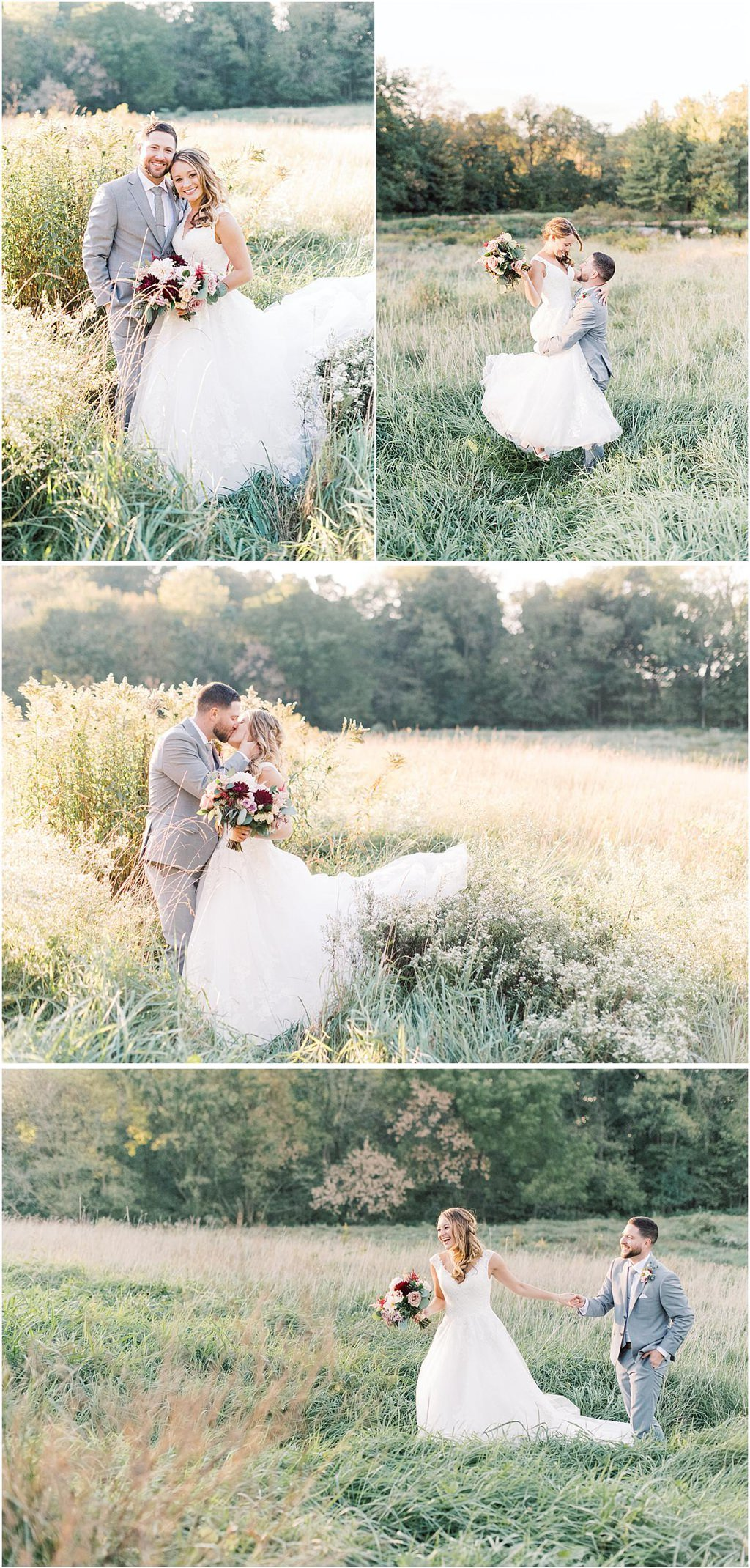 a bride and groom posing for photos in a field in Lancaster PA