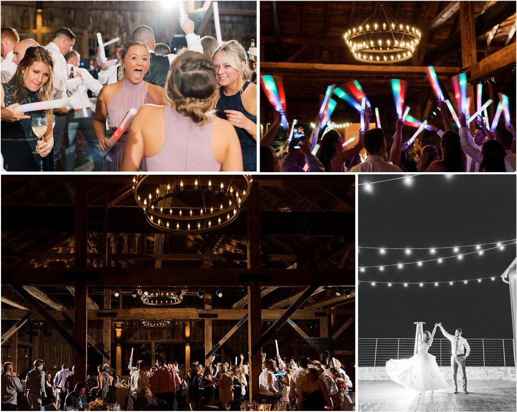 wedding guests dancing with glow sticks