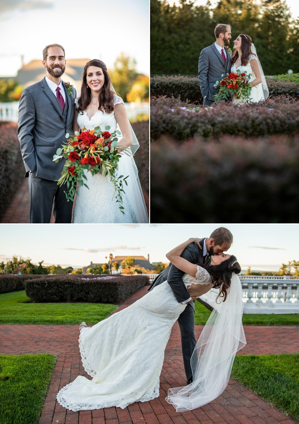 A bride and groom in The Formal Gardens of The Hotel Hershey