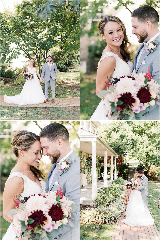 A cute bride and groom posing for wedding photos.