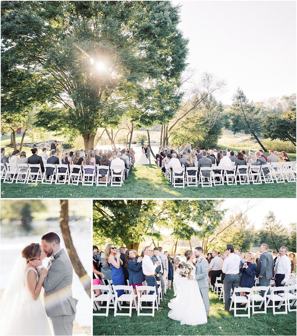 A ceremony taking place in late afternoon at the farm at eagles ridge