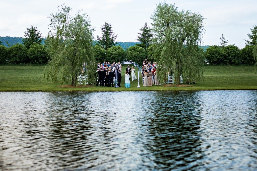 The pond wedding ceremony site at Wind in the Willows in Grantville, PA