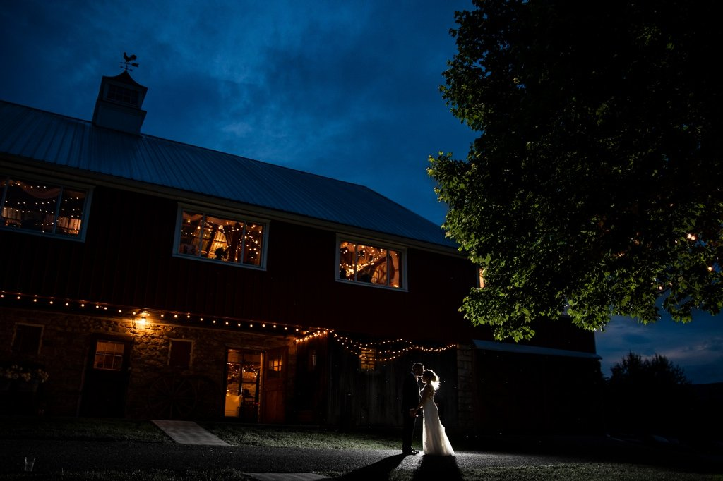 A wedding night portrait at Wind in the Willows in Grantville, PA