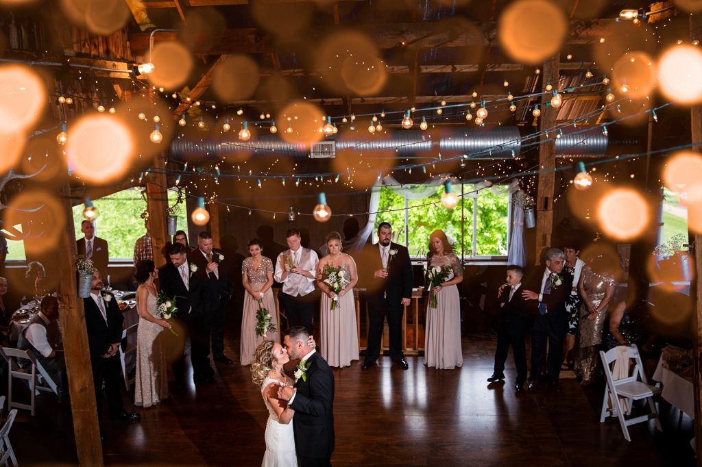 The bride and groom doing their first dance at wind in the Willows