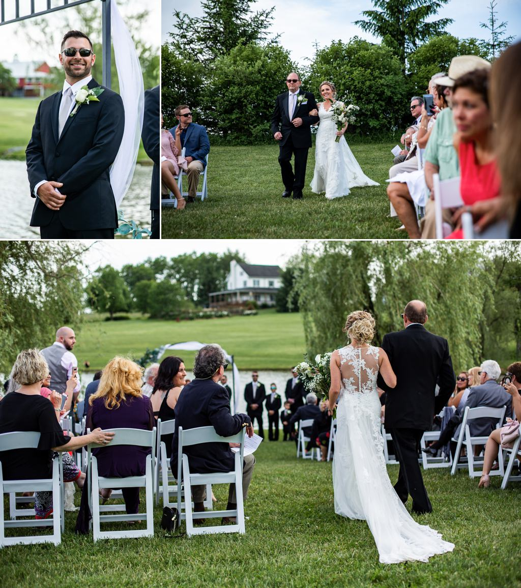 The reaction of the groom as the bride walks down the aisle at Wind in the Willows