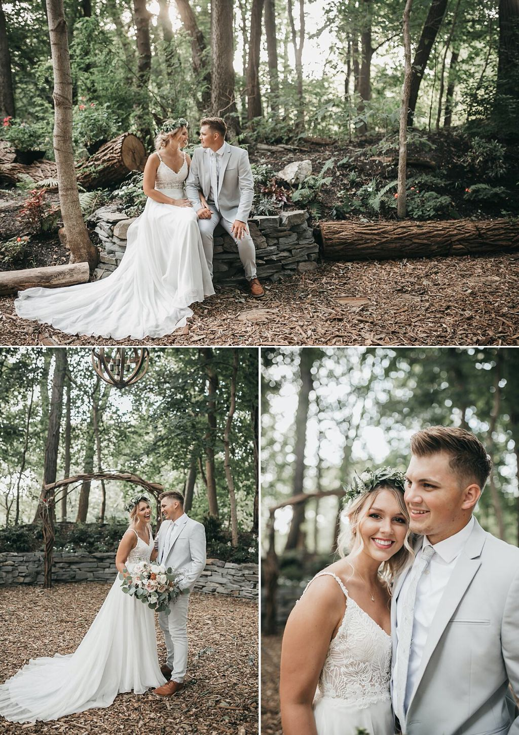 A bride and groom posing for wedding photos at Stone Mill Inn