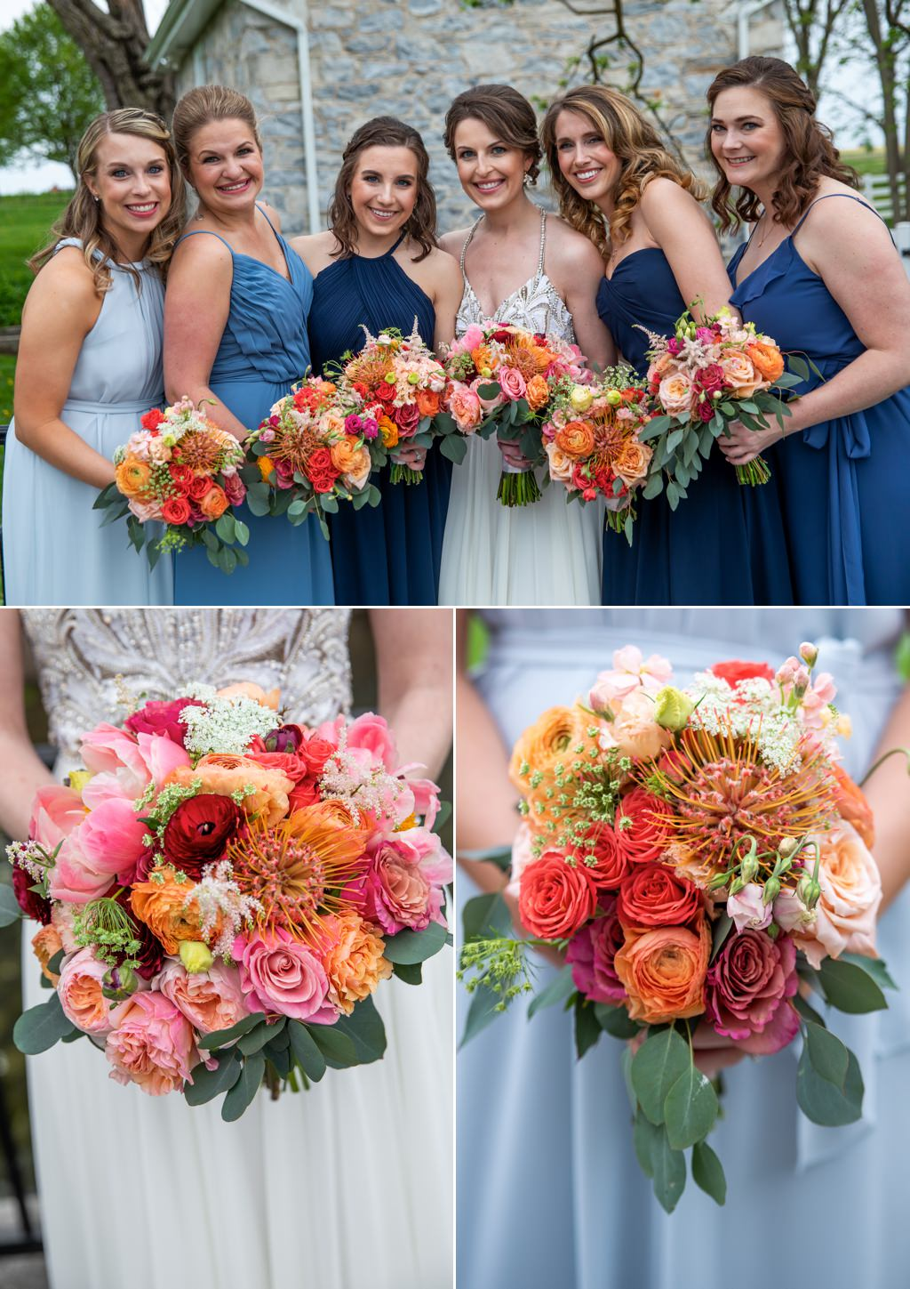A bride and bridesmaids holding beautiful bouquets