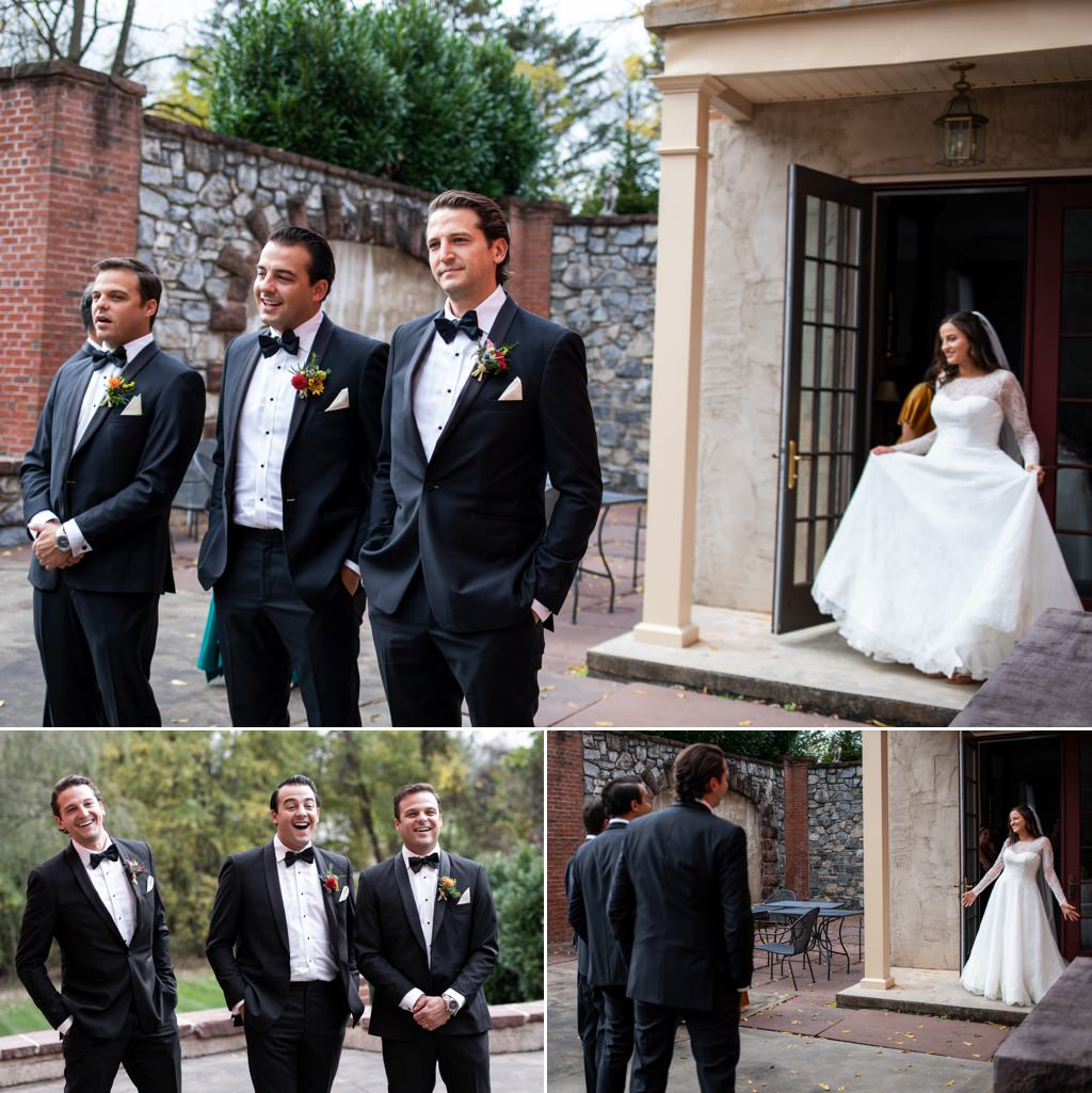 a bride doing a first look with her brothers