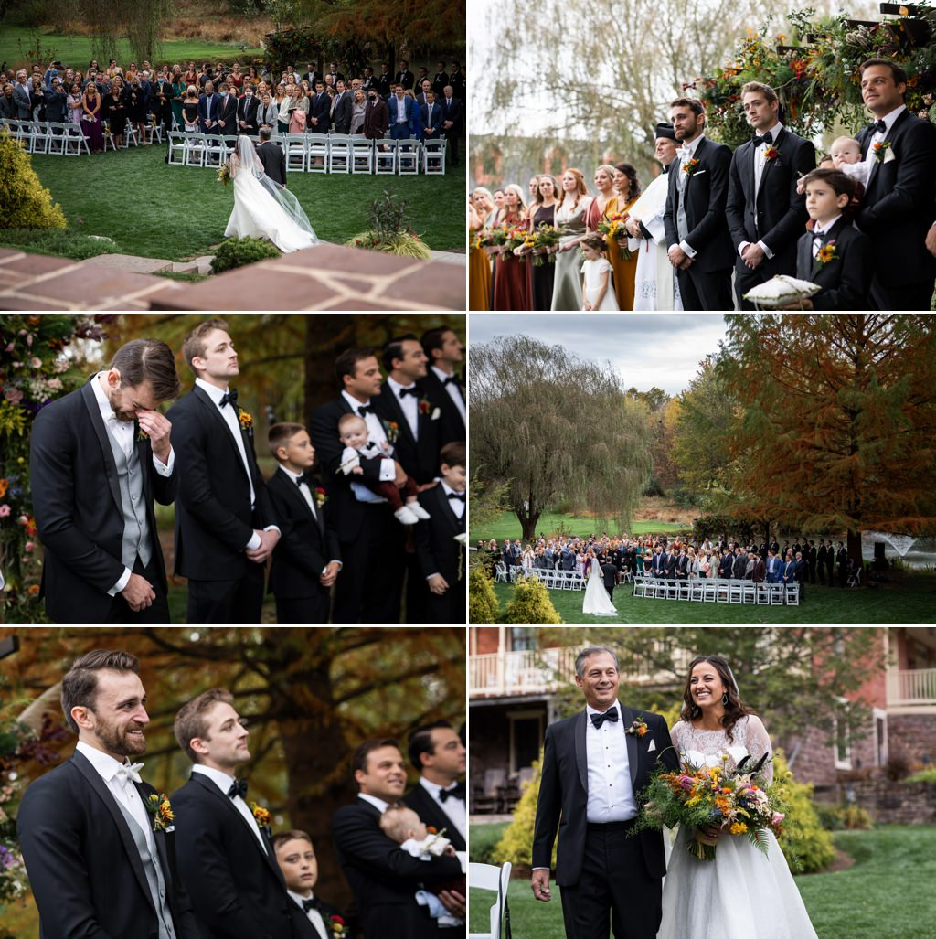 A bride walking down the aisle at historic acres of hershey pa