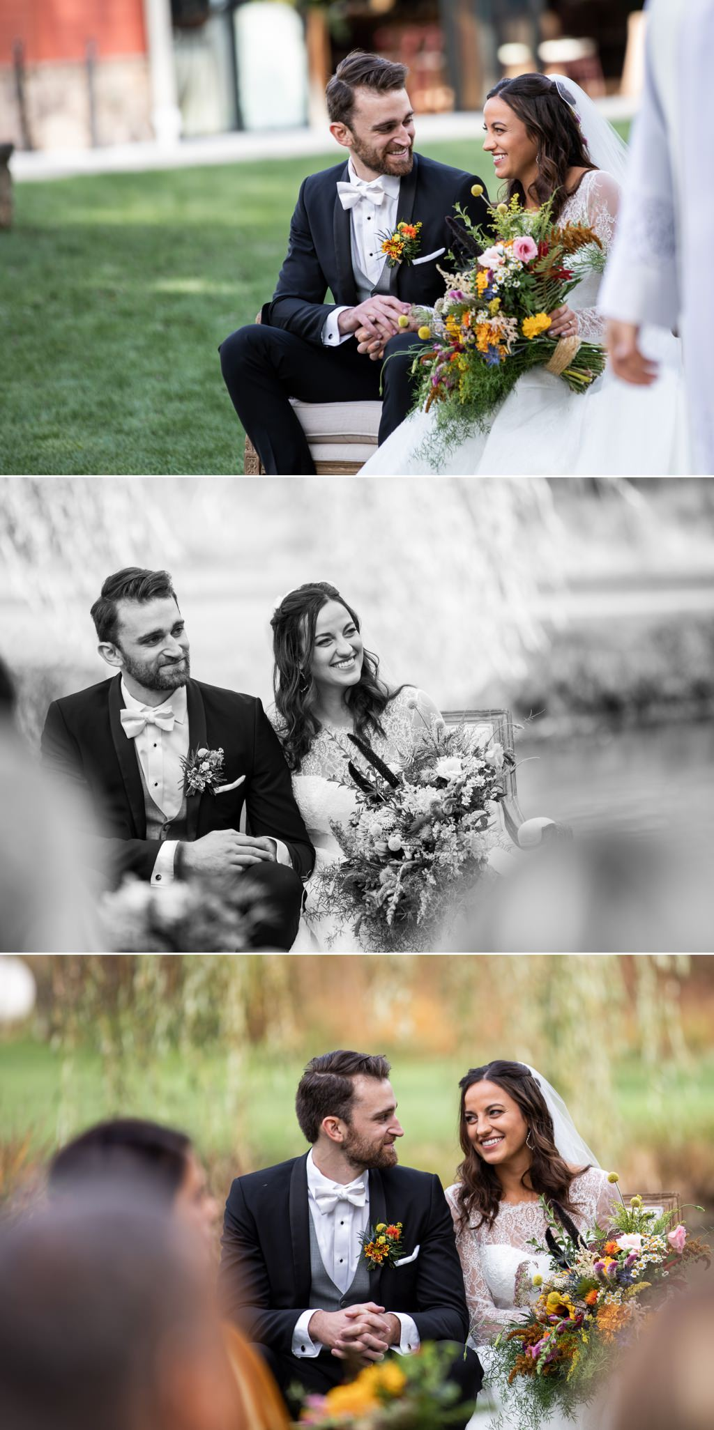 A bride and groom smiling at each other during their wedding ceremony at historic acres of hershey pa