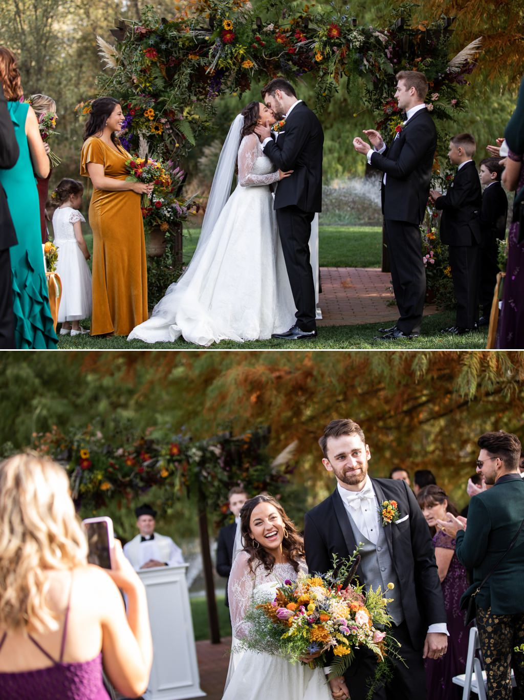 A bride and groom first kiss at a historic acres of hershey pa wedding ceremony