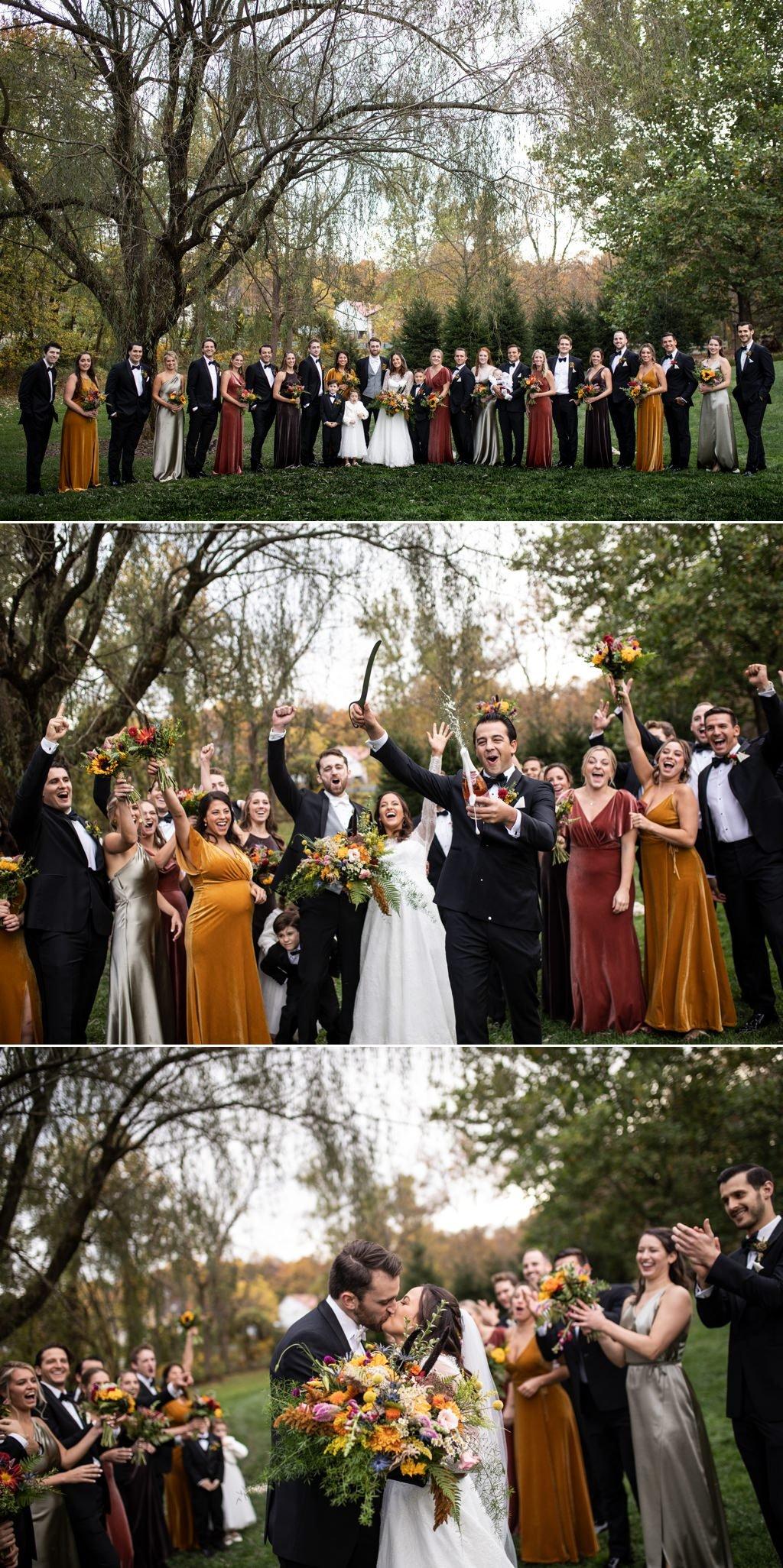 A bridal party at this fall wedding at historic acres of hershey pa