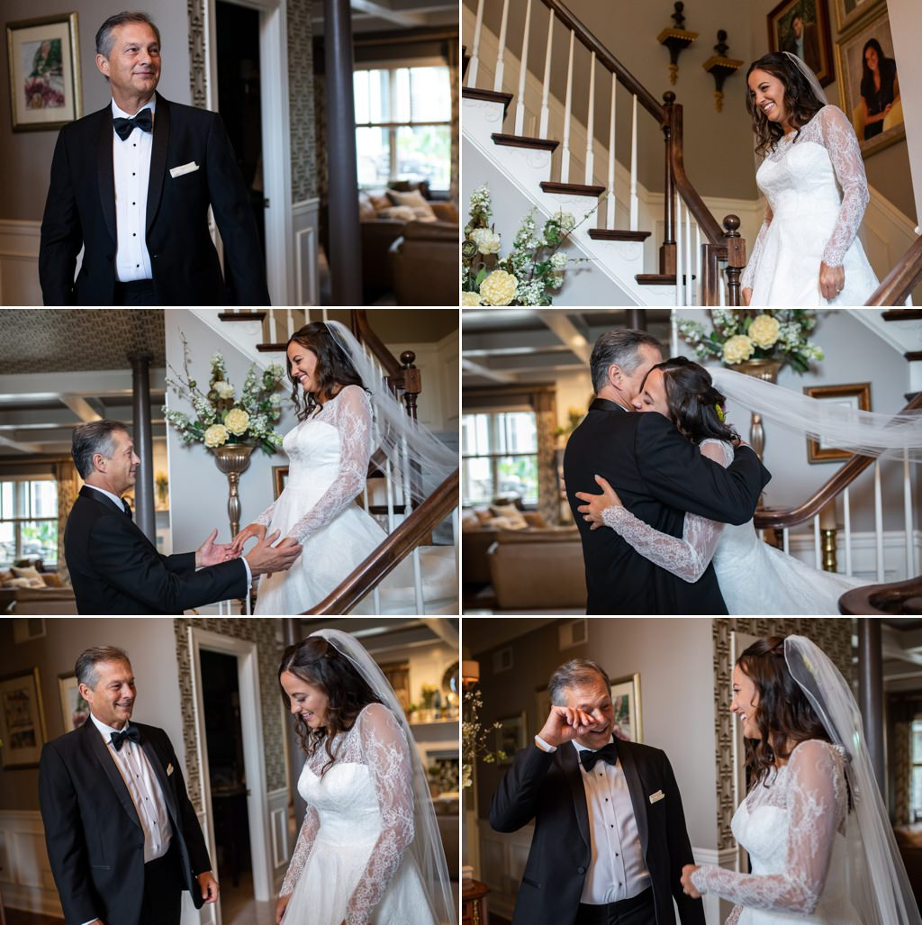 A first look between a bride and her father