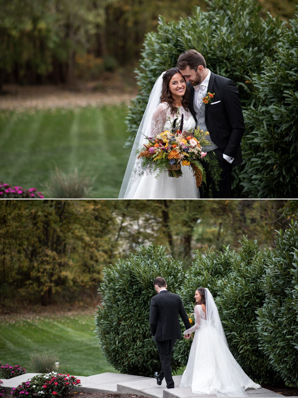A bride and groom walking down the steps after their wedding at historic acres of hershey pa