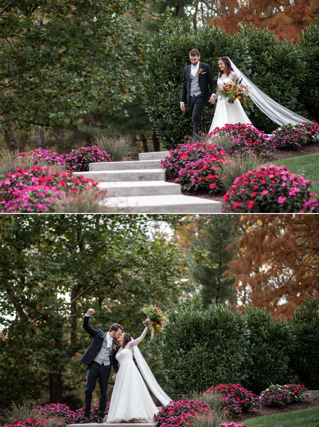 A bride and groom walking down stairs at historic acres of hershey pa