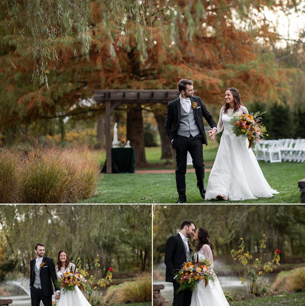 A bride and groom posing near the willow trees at historic acres of hershey pa