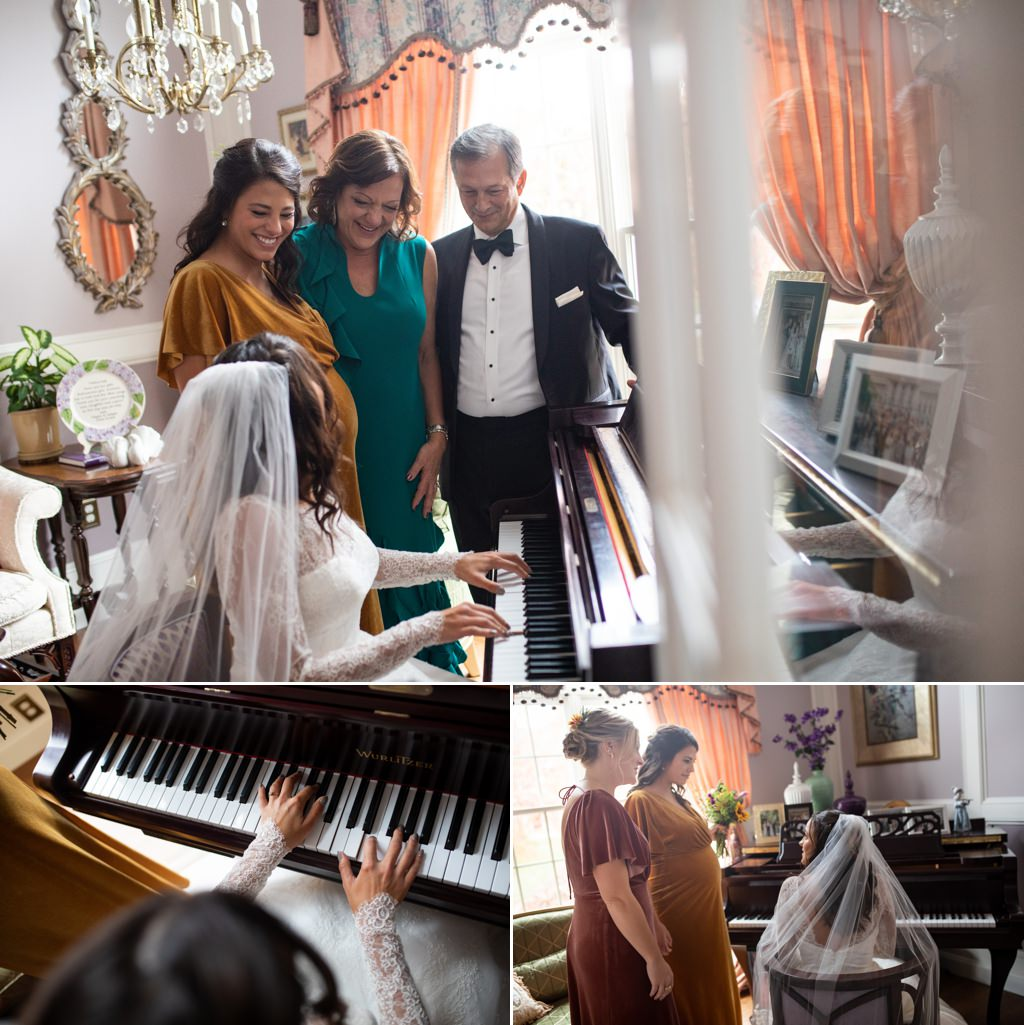 A bride playing piano in her wedding dress for her parents