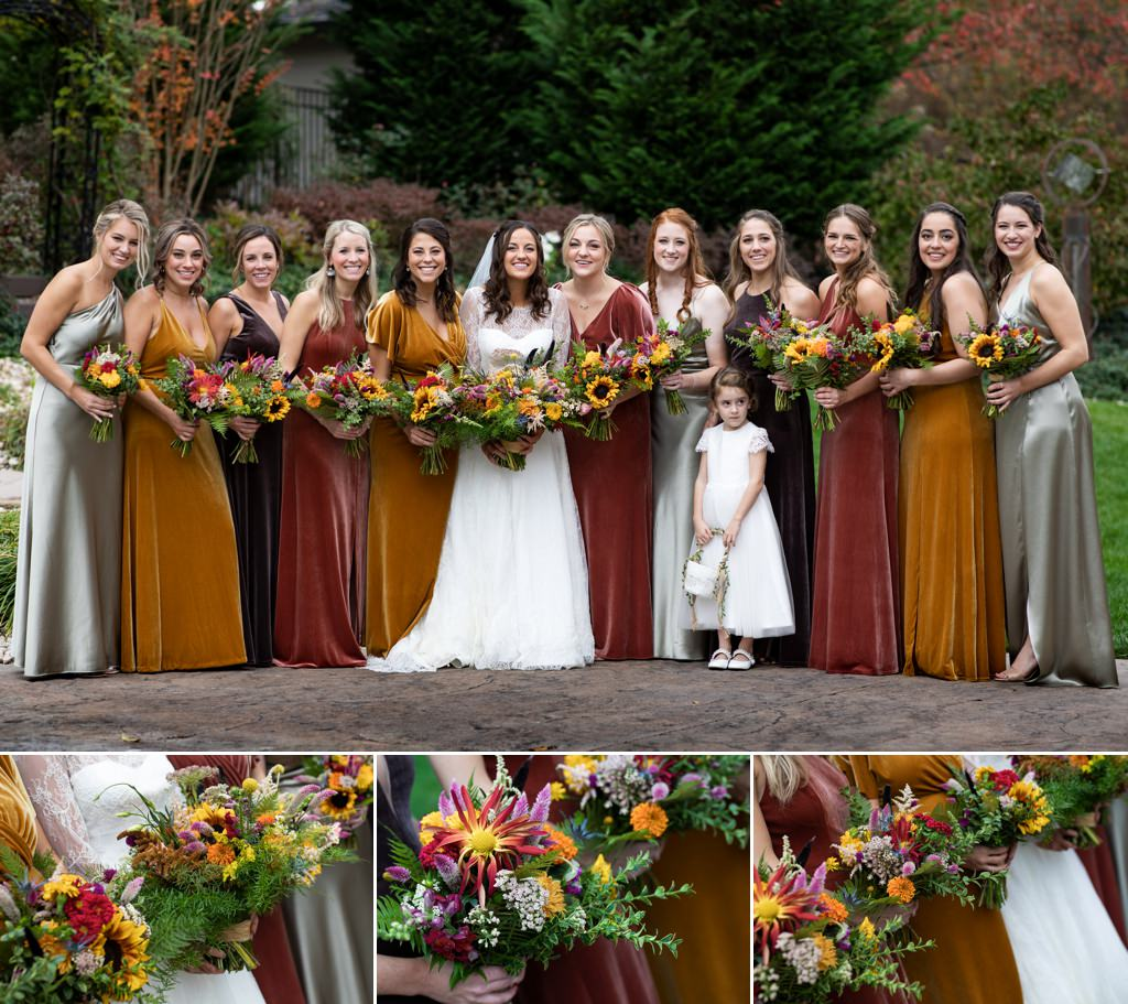 bridesmaids wearing fall color dresses
