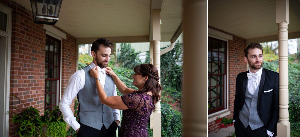 A groom getting ready