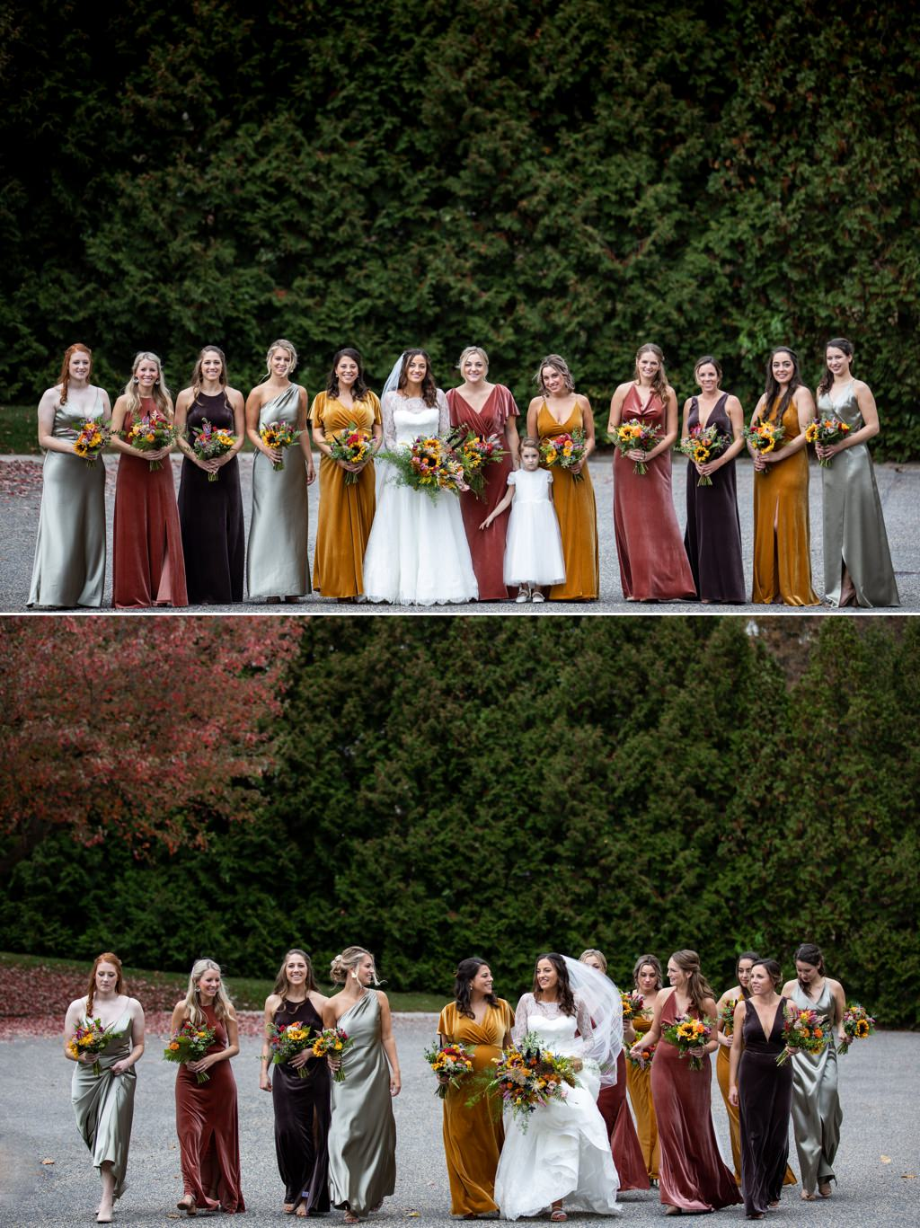 bridesmaids wearing fall color dresses walking and posing