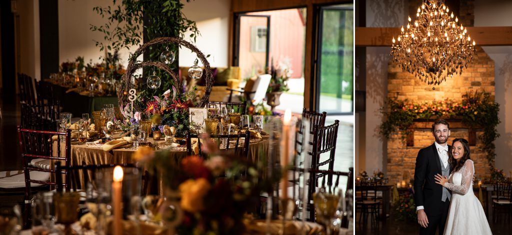 wedding reception ballroom details and a bride and groom posing at historic acres of hershey pa