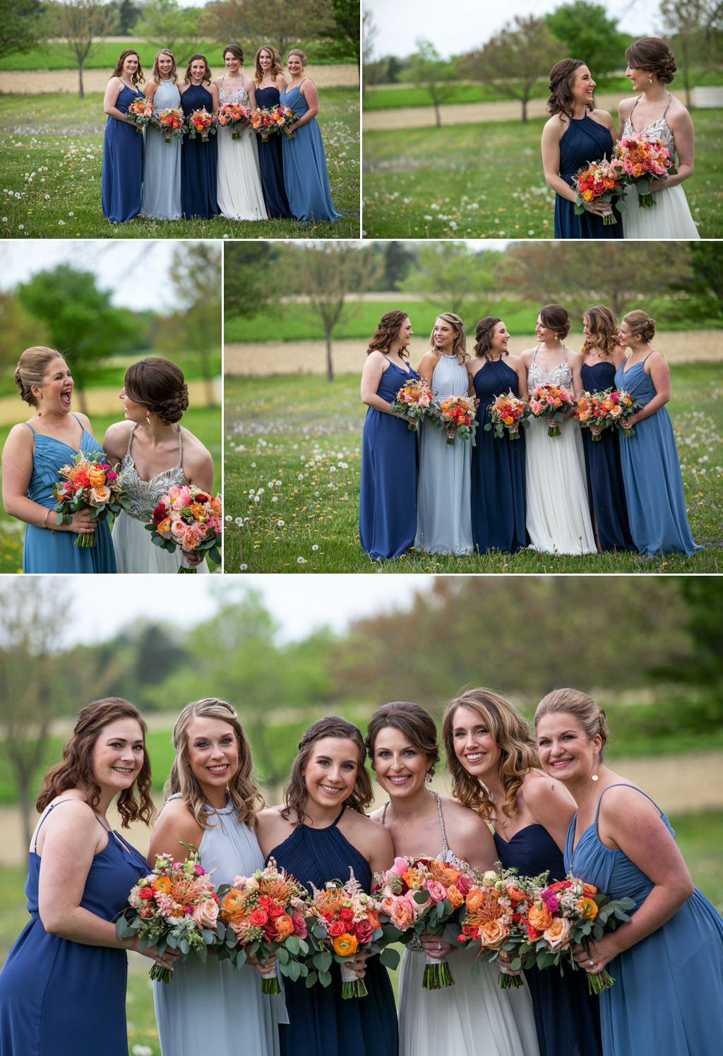 A bride and bridesmaids posing for photos in a field