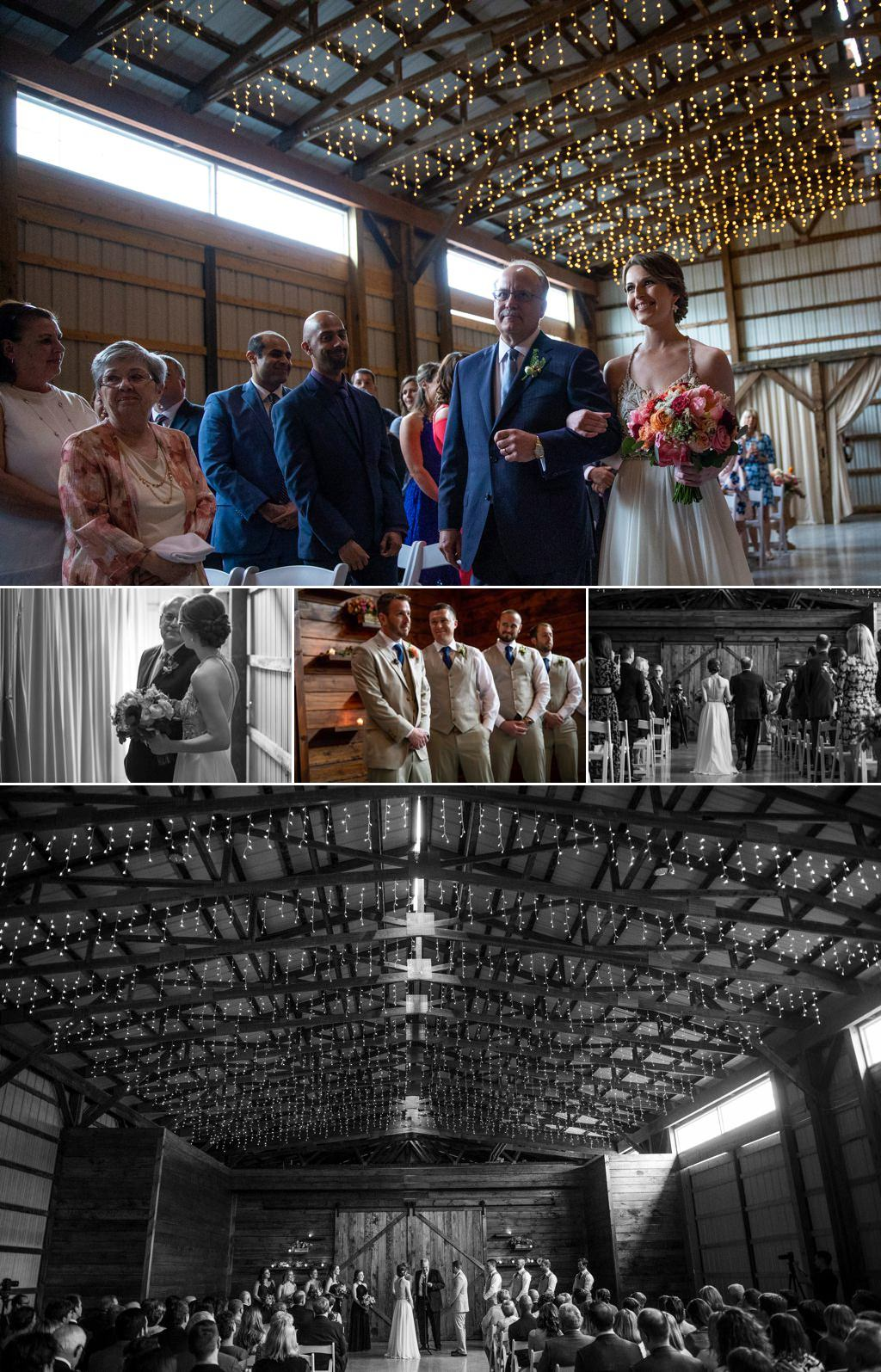 A bride walking down the aisle at her wedding at The Barn at Silverstone