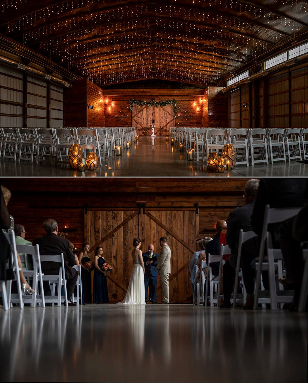 The beautiful indoor wedding ceremony location at The Barn at Silverstone in Lancaster, PA