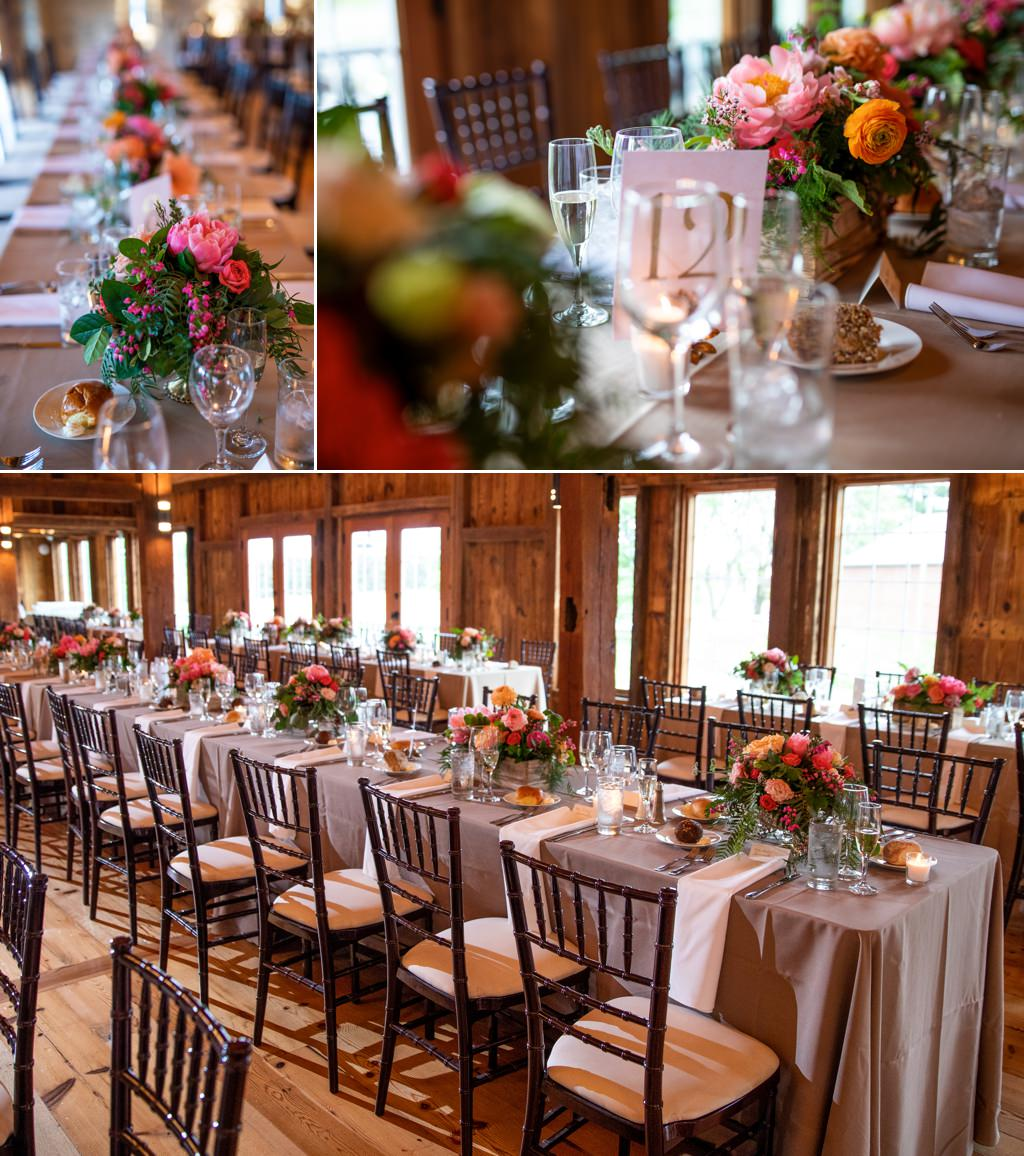 Wedding reception flowers in the colors of pink, yellow and orange