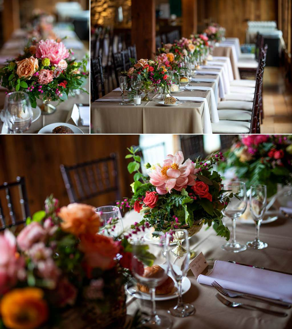 spring wedding flowers set up on tables at a reception