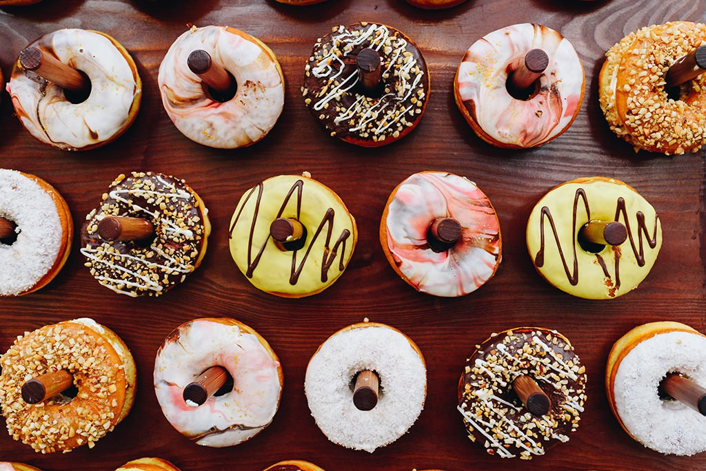 Donuts being served at a bridal shower