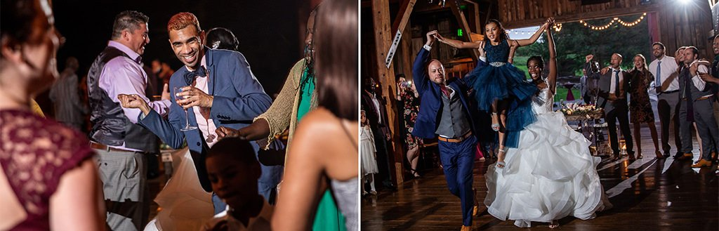 A bride and groom lifting a girl in the air on a wedding reception dance floor