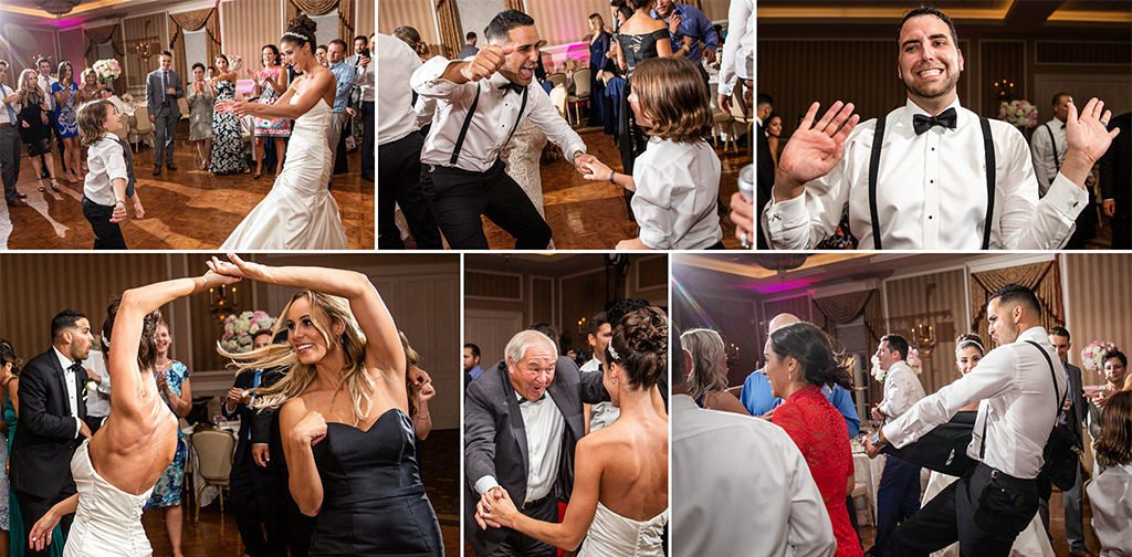 lot's of wedding guests dancing on the dance floor at a reception. what questions can you ask your dj to make sure they keep your dance floor full?
