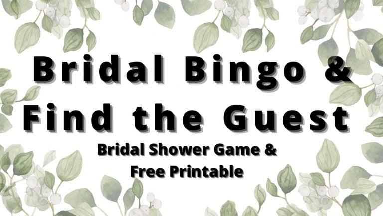 Bridal Shower Bingo Game (Multiple Versions) Printable