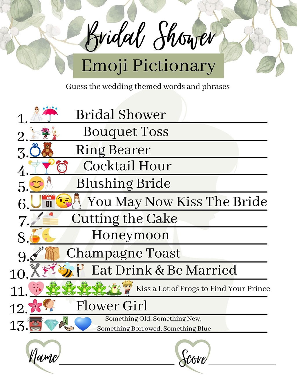 A photo of the answer key for the Emoji Bridal Pictionary game.