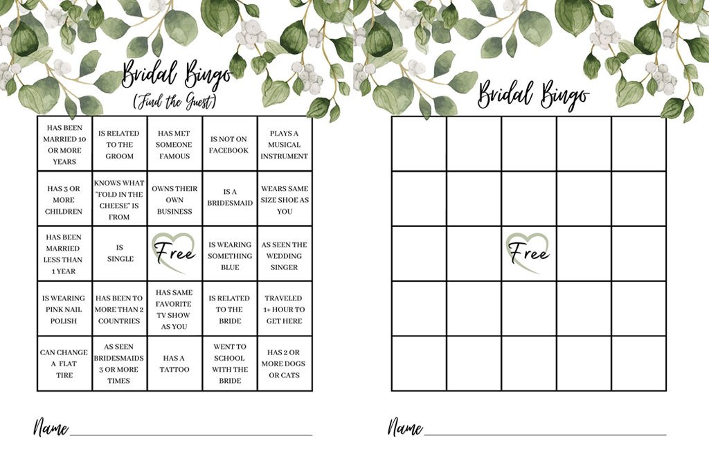 A photo that shows a printable for two separate bridal shower games. The first is bridal bingo. The second is bridal bing find the guest. The border around the game cards have green leaves