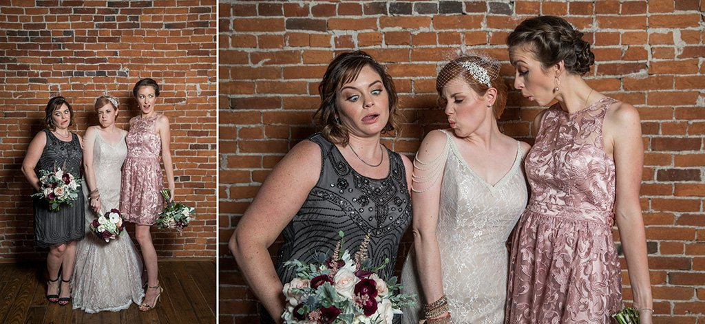A bride and bridesmaids making funny faces at each other