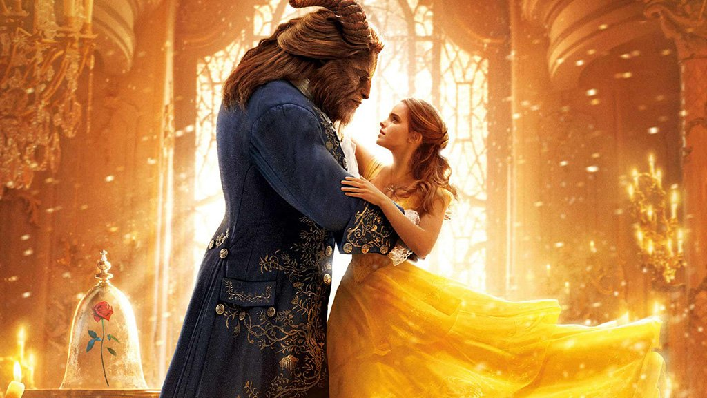 A ballroom dancing photo from the movie beauty and the beast. This photo is for a post about bridal shower games like Disney Love Songs