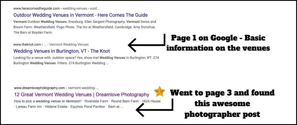 A screen capture of a Google listing that shows the best wedding venues in Vermont.